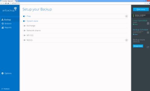 Screenshot airbackup_Startbildschirm