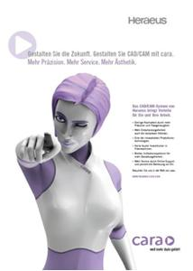 """cara – die Werbeanzeige für das neue CAD/CAM-System von Heraeus – gewinnt im Juni den Preis für """"Die beste Dentalanzeige"""""""