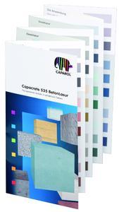 Capacrete 535 BetonLasur: Das neue Leporello vermittelt Verarbeitern im voraus einen realistischen Eindruck, wie transparenter Schutz in attraktiven Farben nach dem Applizieren wirkt