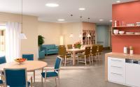"""Colours that care - Farbgestaltungen in Senioren-Einrichtungen sollen ansprechend sein und gleichzeitig Orientierung bieten. Die Natur liefert hierfür die beste Inspiration – darauf basieren die sechs """"Lebensräume""""-Farbwelten. Diese Gestaltung stammt aus der Farbwelt Meeresbrise."""
