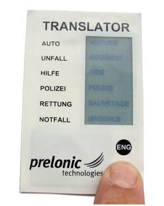 Newest prototype: Translator Module shows terms in French and English. Equipped with a printed battery, the translator card can translate either in French or in English - according to the pressed push button