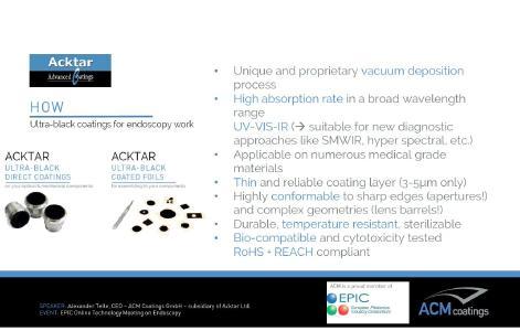 ACKTAR Beschichtungen sind für die Endoskopie ohne Einschränkung auch im IR & NIR geeignet
