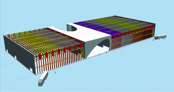 3D-Ansicht der Tragwerksplanung / Holzbaukonstruktion (Bildnachweis: Kaufmann Bausysteme GmbH)