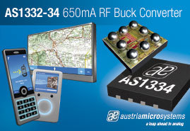 austriamicrosystems introduces new low noise 650mA DC-DC buck regulators for RF power amplifiers