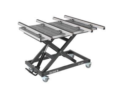 RUWI-Montagetisch für die Kunststoffbearbeitung mit HPL-Tischplatte.