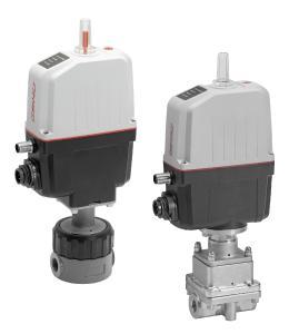 GEMÜ R563 (left) and GEMÜ 566 (right) control valves with GEMÜ eSyStep motorized actuator