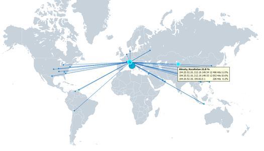 Geographische Positionsbestimmung im StoneGate Management Center zeigt Ursprung von Netzwerkattacken an
