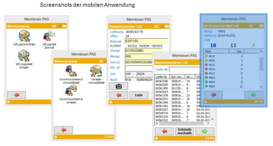 Screenshots der mobilen Anwendung