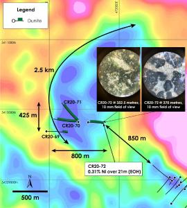 Figure 1 – West Zone Discovery Holes CR20-69 through CR20-72 over top of gravity gradient (Crawford Township airborne gravimetric survey completed in 2018)