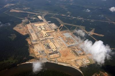 Luftaufnahme des 14 Quadratkilometer großen Geländes