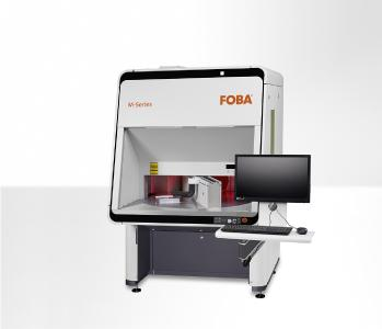 FOBA M3000-R, stand-alone laser marking workstation with rotating two-stations turntable and integrated camera. Completed by the innovative new FOBA Y.0201-DN fiber laser, the system is best suitable for high throughgput serial parts production of day-night-design elements.