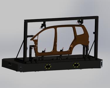 Bps. eines universellen Rahmens für Seitenteile, hier aufgebaut auf einer präzisen, eigenstabilen Sandwichplatte zum innerbetrieblichen Transport. Die Aufnahmen für die jeweiligen Bauteile können schnell und wiederholgenau ausgewechselt werden