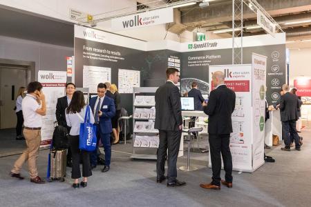 Der Gemeinschaftsstand von eCommerce-Softwarehersteller Speed4Trade und seinem Partner wolk after sales experts auf der Messe.