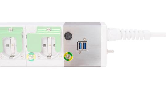 e-medic™ MEDX – medizinische Steckdosenleiste mit optionalem USB-Lademodul