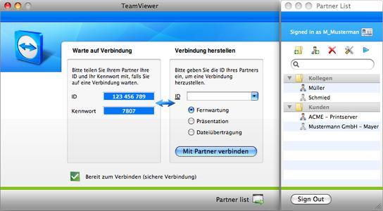 Screenshot TeamViewer 4 Mac-Version
