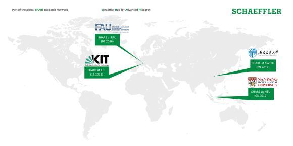 SHARE at SWJTU ist Teil von Schaefflers weltweitem Innovationsnetzwerk neben den Company on Campus-Konzepten SHARE at FAU (Friedrich-Alexander-Universität Erlangen-Nürnberg), SHARE am KIT (Karlsruher Institut für Technologie) sowie SHARE at NTU (Nanyang Technological University, Singapur)