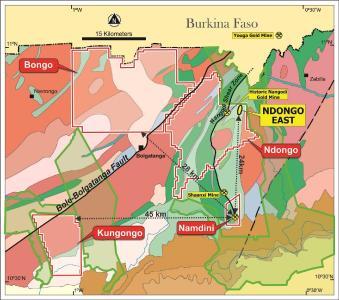 Abb. 1: Konzessionsgebiet von Cardinal, bestehend aus den Projekten Bolgatanga und Namdini, mit Waldschutzgebieten