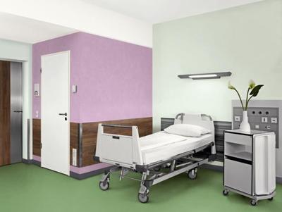Angenehme Raumstimmungen haben auf den Heilungsprozess eine positive Auswirkung. Daher ist es besonders wichtig, hier eine wohnliche Atmosphäre zu schaffen. Die drei Entwürfe bilden Patientenzimmer in Ton-in-Ton-Stimmung, mit geringem und starkem Kontrast ab (Foto: Caparol Farben Lacke Bautenschutz)