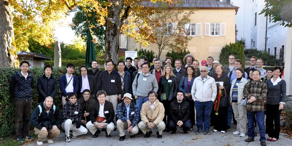 Group Portrait of the participants of the 8th International Workshop on Bulk Nitride Semiconductors (IWBNS) 2013, organized by Fraunhofer IISB at   Kloster Seeon in southern Bavaria.