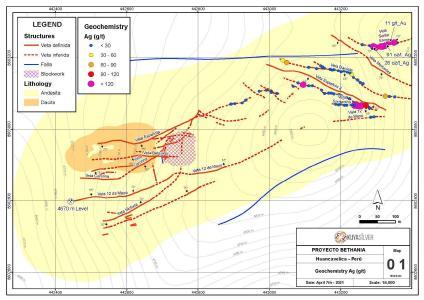 Geochemiekarte mit Lage und Ergebnisse der Gesteinssplitterproben auf dem Projekt Bethania