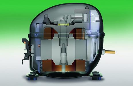 Das neue FAG-Axial-Kugellager ersetzt bei der Lagerung der Exzenterwelle in Kühl-kompressoren die bisher üblichen Gleitlager und senkt den Energieverbrauch um bis zu fünf Prozent