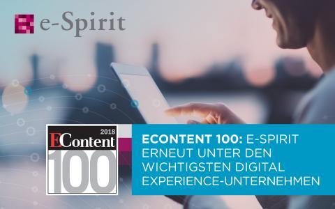 EContent 100: e-Spirit erneut unter den wichtigsten Digital Experience-Unternehmen