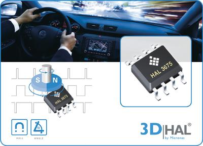 New sensor from Micronas uses proprietary 3D HAL® technology for direct angle detection from 0° up to 360°