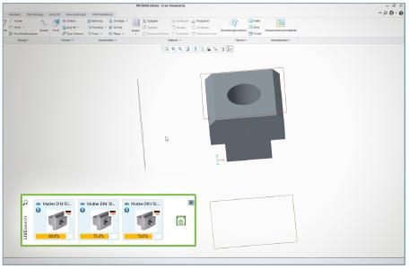 Mittels der LIVEsearch Funktion der Geometrischen Ähnlichkeitssuche wird während des Konstruktionsvorgangs im jeweiligen CAD System automatisch nach bereits existierenden, geometrisch ähnlichen Bauteilen gesucht und diese direkt am Rand eingeblendet