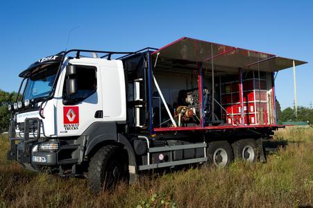 Ein Renault Kerax 6x6 ist die mobile Schulungseinheit für Techniker des UN-World Food Programm