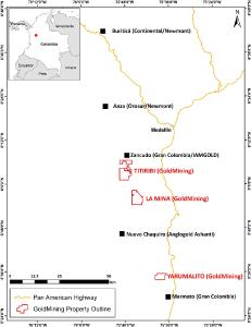 Figure 1: Yarumalito Project location and other active exploration projects and mines in the Mid Cauca Belt of central Colombia