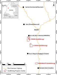 Abbildung 1: Projektstandort Yarumalito und andere aktive Explorationsprojekte und Minen im Mid Cauca Belt in Zentralkolumbien