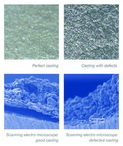SEM investigations show that the coating has self-releasing properties after pouring.