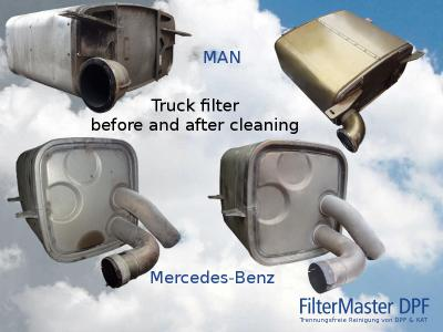 Truck filter before and after cleaning with FilterMaster | up MAN, down Mercedes-Benz