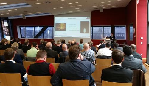 Der Vortrag von Hannes Kendziora, M.Sc., einem jungen Wissenschaftler im DVS, zu den Applikationen des Elektronenstrahlschweißens. Kendziora wurde von der PTR Strahltechnik GmbH entsandt. (Quelle: DVS)