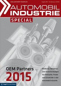 "Titelseite der neuen Ausgabe ""Automobil Industrie""-Special  ""OEM Partners 2015"" / Foto: Vogel Business Media"