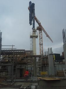 Putzmeister's new RS 850 Column Placing System was selected due to its innovative, hydraulic self-climbing system that allows the complete column assembly to be lifted through the floors below to raise the placing boom above the formwork.