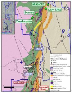 Figure 1 - YCG Sam Otto, Crestaurum, Barney and Mispickel deposits