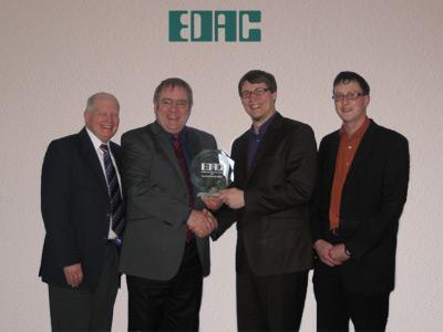 B. Raikes, A. King, A. Engelking und T. Vosseler bei der Preisübergabe