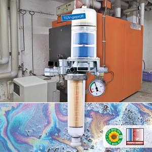 Der AFRISO Heizölentlüfter FloCo-TOP-2KM Optimum MC-18 erreicht eine echte 5 µm-Filterung, die für bessere Verbrennungsvorgänge und optimale Brennwerte sorgt. Empfohlenen Öl-Reinheiten moderner Heizungsanlagen werden übertroffen / Foto: AFRISO