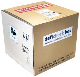 deficheck box versandfertig mit AED zur STK. Die deficheck box von DISTLER Medizintechnik® für den sicheren und ADR-konformen Versand von AEDs zur Sicherheitstechnischen Kontrolle. Bestellbar aus dem dt. Festnetz über 0800 AEDcare oder defiplatz.de Im Preis sind alle Versandkosten und die STK enthalten.