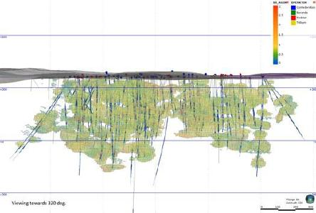 Figure 1: Longsection view of the February 2021 Gradeshell Domain exploration block model