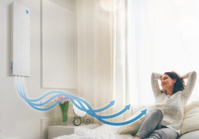 Mit dem neuen Premium Cover ist das Lüftungsgerät freeAir 100 so leise, dass es selbst in Schlafräumen allerhöchsten Ansprüchen gerecht wird