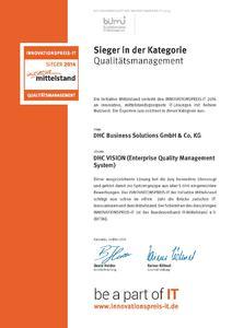 Siegerurkunder der DHC zum Innovationspreis-IT 2014