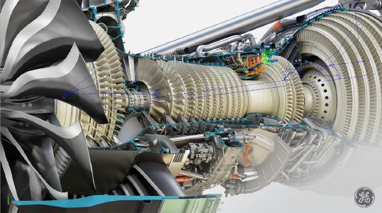 Flow Simulator Modell eines GE Flugzeugtriebwerks
