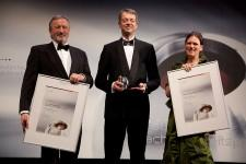 Price-giving ceremony for the most sustainable german brand 2010: (from the right) Sabine Altmann, management Wagner & Co, Dr. Christian Friege, chairman LichtBlick, Ulrich Maith, manager alverde NATURKOSMETIK