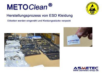 Etiketten werden eingenäht und Kleidungsstücke verpackt