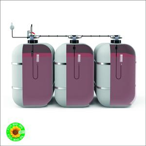 The new AFRISO level sensor chain; picture shows version for three battery tanks with level sensor, float switches and floating withdrawal. The level sensor chain is available for retrofitting of existing systems and for new systems of virtually all renowned manufacturers