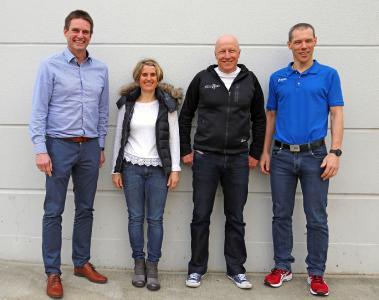 Das Trainerteam um Stephan Vuckovic (v.l.n.r.): Ralf Stehle (Gesundheitsmanager ebm-papst), Astrid Dinkel, Stephan Vuckovic und Uwe Richlik. Es fehlen: Volker Hambrecht und Markus Vorbach (beide ebm-papst)