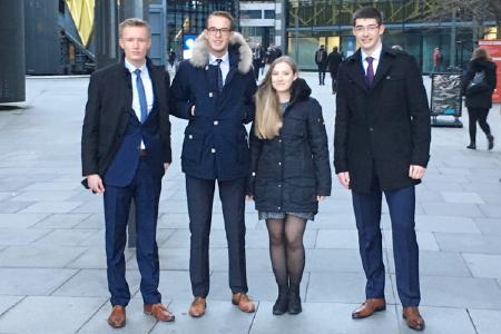 Die HSW-Studierenden Jan-Philip Bokeloh, Pascal Stumpf, Katharina Wolff und Marvin Alexander Vibora Münch (v. l. n. r.) vertreten Deutschland 2018 beim internationalen PMC-Finale in Serbien.