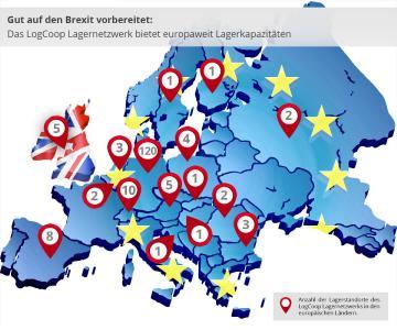 LogCoop hilft, die Auswirkungen des Brexits abzufedern: An 169 Standorten europaweit stehen Mitgliedern des Lagernetzwerks ausreichend Kapazitäten zur Aufstockung ihrer Lagerbestände zur Verfügung / Grafik: LogCoop